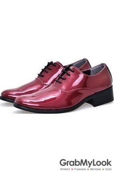 GrabMyLook Purple Patent Glossy Fancy Color Leather Lace Up Point Head Mens Oxfords Shoes