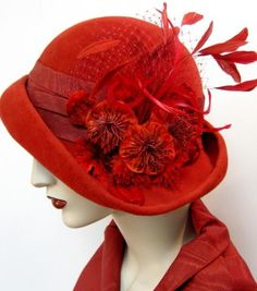 Cardinal Red Cloche - How To Make Hats Millinery Classes Red Hat Ladies, Red Hat Society, Simply Red, Fancy Hats, Look Vintage, Vintage Hats, Love Hat, Fashion Mode, Womens Fashion
