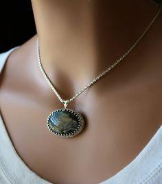 Large Spectrolite Flash Labradorite Pendant Necklace, 925 Sterling Silver, Statement Necklace, OOAK, Labradorite Jewelry, Oval Amulet