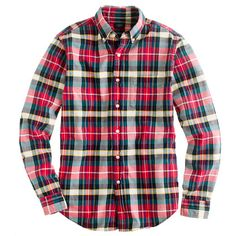 Oxford plaid shirt in holiday red--this with a nerdy monogram and cableknit cozy sweater equals instant yum!