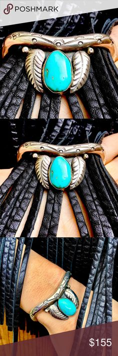 SALE🔥TREND~SETTING CLASSIC FEATHER TURQUOISE CUFF On a REAL SALE.Sale $ firm🙏SOLID SILVER Cuff 4 a Free Spirit Lover of *Premium Turquoise Jewelry!Much Intense focus & perfectionistic emphasis went 2 Details & HIGHEST QUALITY.A DREAM CUFF I wanted 2 Keep😆..but it's the holidays & I know we All CRAVE something Super Special at a Sale price with GENUINE Turquoise💙ONE OF A KIND 100% HANDMADE Built 2 Last Lifetimes💙VIVID,Large BEAUTIFUL Chunk of Sky Blue~Green NATURAL Turquoise…