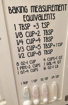 Baking Measurement equivalents Vinyl Wall by ArtsyWallsAndMore Kitchen Cabinets Measurements, Cooking Measurements, Baking Tips, Baking Recipes, Baking Hacks, Baking Ideas, Tandoori Masala, Wall Decal Sticker, Wall Vinyl