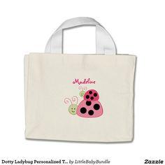 Dotty Ladybug Personalized Tote Bag