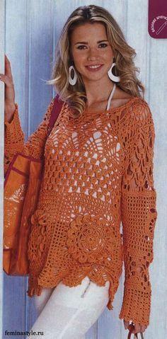 Blusa de crochê manga longa, associando motivos (square) e crochê tradicional.