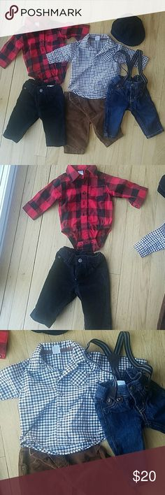 3 months Carters boy bundle Carters bundle  Black corduroy pants, red & black buffalo check button down shirt with snaps, camel/brown corduroy pants, camel & navy checkered button down shirt, denim jeans w/ attached suspenders, black corduroy newsboy hat.   Clothes are all 3 mos Hat is size 0-3 months  All in excellent used condition (worn 1-2 times ea) and from a smoke and pet free home Carter's Other