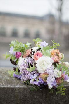 Wedding bouquet / ranunculus, lilac, eucalyptus
