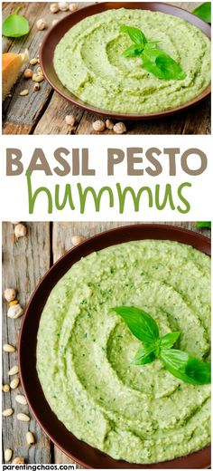 It's no secret, I love hummus. I could seriously sit down and eat an entire batch at once if I didn't watch it. This Basil Pesto Hummus Recipe is a mouthwatering combination of two delectable Pesto Hummus, Vegetarian Recipes, Cooking Recipes, Healthy Recipes, Vegan Recetas, Tartiflette Recipe, Basil Recipes, Pesto Recipe, Humas Recipe
