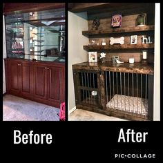 Transform an outdated built in cabinet into a rustic dog kennel Decor, House Design, Diy Furniture Flip, Front Room, Home Projects, Home, New Homes, Dog Crate Furniture, Built In Cabinets