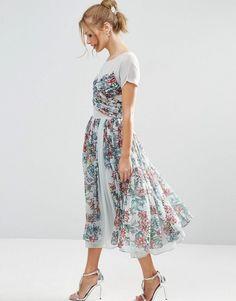 Image 1 ofASOS SALON Soft Floral Midi Prom Dress