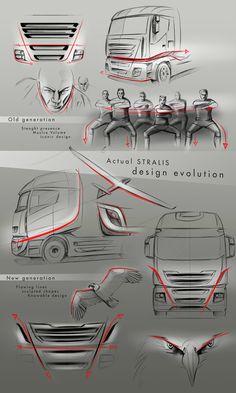 Iveco Stralis _ ALIEN by Alberto Caruso, via Behance – Car Racing & Car Classic Car Design Sketch, Truck Design, Car Sketch, Yacht Design, Sketch Inspiration, Design Inspiration, Id Design, Auto Design, Industrial Design Sketch