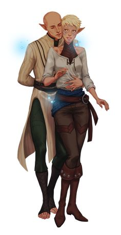 Here's @nipuni's wonderful, wonderful rendition of Emia and Solas! I love all the incredible details–the folds of fabric, the improvements to the game costume design, the amazing painting! I'm so pleased with this commission. And yep, still not over...