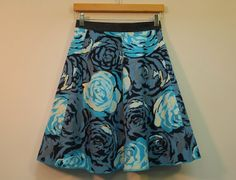 Retro Blue Rose Print Wrap Skirt by mountainashdesign (on Etsy)