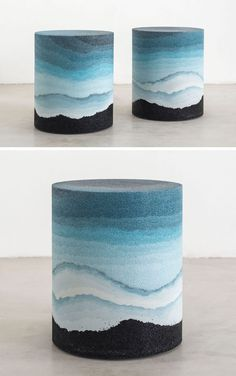 Designer Fernando Mastrangelo has created the Escape Collection, a group of modern furniture pieces, like this stool, that are made using hand-dyed sand and silica to create simple forms that look like a three-dimensional landscape painting.