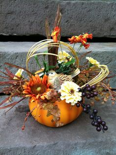 pumpkin floral arrangements | Fall Pumpkin Floral Arrangement Flower by marigoldsdesigns