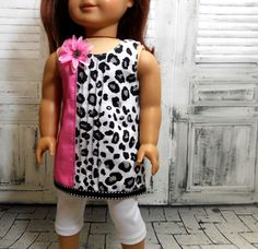American Girl Doll Clothes:Black White Pink Leopard A line Tunic and Leggings