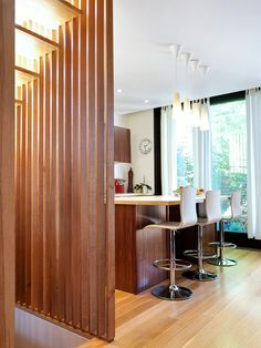 Home decoration, Small Mini Bar Design In Modern Kitchen With Wooden Partition And Wood Veneer Floor Using Large Windows Glass: cool interior home partition image and ideas to separate space