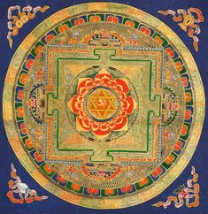 Om Tantric Mandala with Lotus Fire