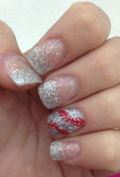 Glitter fade baseball nails. I had these done for our Baltimore trip.