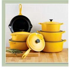 Le Creuset! I want them all. And someone to wash up when I am finished cooking with them.