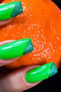 Lime green glitter nail design
