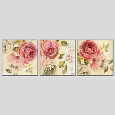 Oil Paintings Flower Style Canvas Material with Stretched Frame Ready To Hang Size 70*70*3PCS 2016 - £52.49