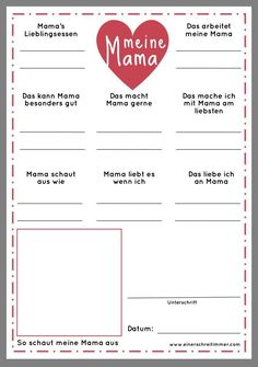 Fragebogen Meine Oma - Geschenk zum Muttertag Every year we fill out this questionnaire for Grandma