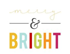 Merry & Bright Free Christmas Printable in white