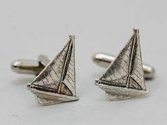 Sailboat Cufflinks Mens Cufflinks  Antiqued Silver by emmagemshop, $24.99