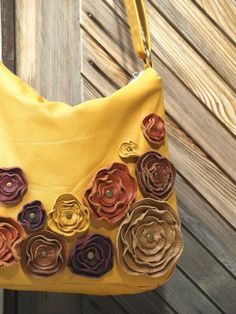 Honey Gold Leather Bag Leather Messenger Purse Rustic Harvest Leather Floral Applique