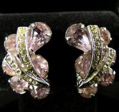 Weiss Signed Earrings Vintage Silver Tone Lavender Clear Rhinestones   eBay