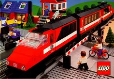 LEGO set 7745, the red and black High-Speed City Express Passenger Train, from 1985