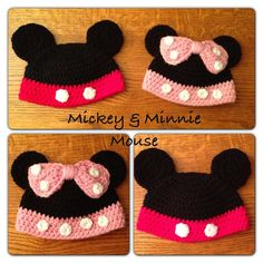 Mickey Mouse & Minney Mouse Beanie on Etsy, $26.00