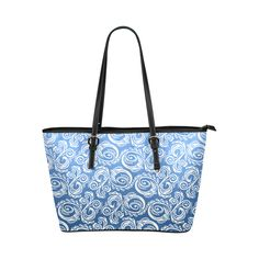 Scandinavian Peacock 02d ~ Blue Leather Tote Bag/Small (Model 1651) Pattern inspired by Scandinavian Folk Art. Abstract peacock pattern that you can find in different products, such as: home decor, fashion accessories, iphone cases, apparel, gift ideas, and much more! For lovers of everything folk art, and minimalist decor.