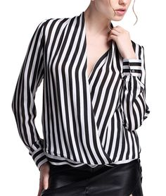 OL Style V Neck High Low Striped Blouse