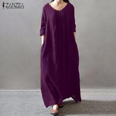 61c501790 Women Elegant Dress 2017 Autumn ZANZEA V Neck Long Sleeve Floor length  Casual Loose Solid Retro Maxi Long Vestidos Plus Size-in Dresses from  Women's ...