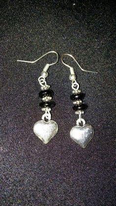Black & Silver heart earrings
