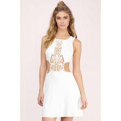Tobi Zyana Crochet Skater Dress (£18) ❤ liked on Polyvore featuring dresses, ivory, macrame dress, ivory dress, side cut out skater dress, side cutout dresses and crochet dresses