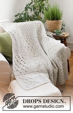 Celtic comfort / DROPS - free crochet patterns by DROPS design - Crochet blanket in DROPS Air. Work with crochet squares and relief stitches. Afghan Crochet Patterns, Crochet Squares, Crochet Stitches, Knitting Patterns, Drops Design, Plaid Au Crochet, Free Crochet, Knit Crochet, Free Knitting