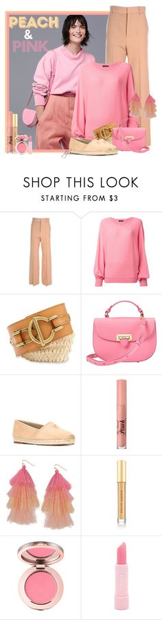 """Peach and Pink !!!!!"" by dgia ❤ liked on Polyvore featuring Chloé, Roberto Collina, FOSSIL, Aspinal of London, Giuseppe Zanotti, Too Faced Cosmetics, Humble Chic, Kevyn Aucoin and Forever 21"