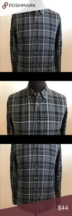 JAMES PERSE Mens Long Sleeve Plaid Button Up SZ 2 JAMES PERSE Men's Long Sleeve Plaid Button Up  ( Retail $185 )  Size: 2   Color: Black / Gray  85% Cotton 15% Polyester   *** I'm a wardrobe stylist & this button front shirt was purchased for a film & it was only worn on set. It is in Excellent Condition , as shown in detailed pictures. Slight neckline marks, as shown in detailed pictures. Will need Dry Cleaned   Shoulder to Shoulder: 19 inches Shoulder to Sleeve: 27 inches Chest: 43…