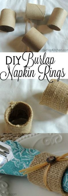 I've been kind of obsessed with empty toilet paper rolls lately. There's so many cool DIY projects you can do with them as you will be seeing over the next couple months (that was your warning). But I am in love with these burlap napkin rings that I made. These are very inexpensive to make and fairly easy! I think they would be gorgeous for a wedding, and they cost next to nothing to make!