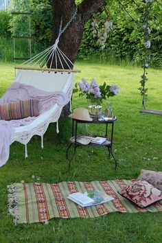 Beautiful Hammock..+ adorable swing & inviting mat~ yes Please!