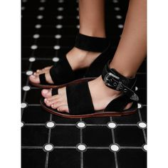 Long Weekend Sandal ($68) ❤ liked on Polyvore featuring shoes, sandals, free people sandals, ankle wrap sandals, long shoes, toe loop sandals and strap sandals
