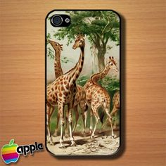 Vintage Animal Giraffes Custom iPhone 4 or 4S Case Cover
