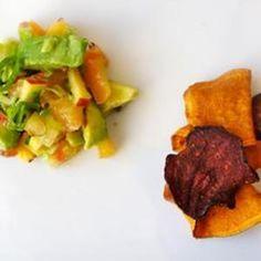 Avocado, nectarine and corriander seeds salsa.