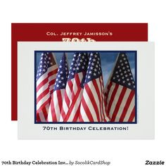 70th Birthday Celebration Invite, American Flags Card This photograph of American flags waving with sky as a background makes a festive and lively invitation to a 70th Birthday Celebration. A dark blue border surrounds the photo, and an off white background completes the front. The reverse has off-white lettering on a a red background. Very unique! You can easily change the inside and outside text. Original photograph by Marcia Socolik. All Rights Reserved © 2014 A&M Socolik