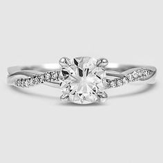 18K White Gold Petite Twisted Vine Diamond Ring