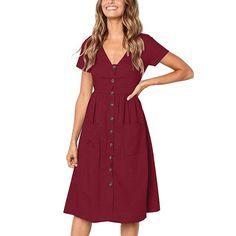 Lossky Women Casual A Line Dress V Neck Solid Polyester Summer Dresses For Women Knee Length Dress Pockets Beach Dress For Women Midi Skater Dress, V Neck Midi Dress, Midi Sundress, Bodycon Dress, Dresses Elegant, Casual Dresses, Short Sleeve Dresses, Long Sleeve, Short Sleeves