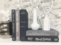 Navy Blue and Gray Decorative Book Set. Shelf decor. Mantel Decor. Shelf decorating. mantel decorating. Buy On Etsy Now