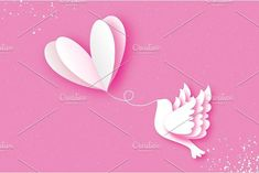 Happy Valentine's day Greeting card. Flying Love Balloon. Bird in paper cut style. Origami Romantic Dove. white heart. White pigeon. 14 February.. Romantic